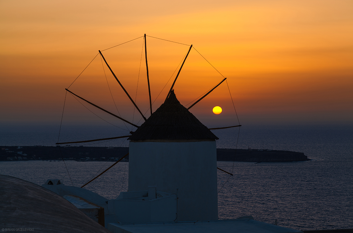 Santorini-Windmill-Sunset