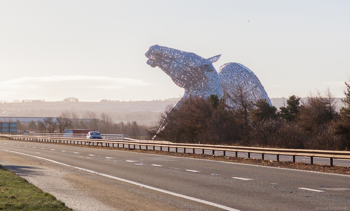 The Kelpies from road